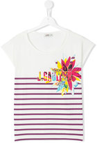 Junior Gaultier teen logo print stripe t-shirt - kids - Cotton/Spandex/Elastane - 14 yrs
