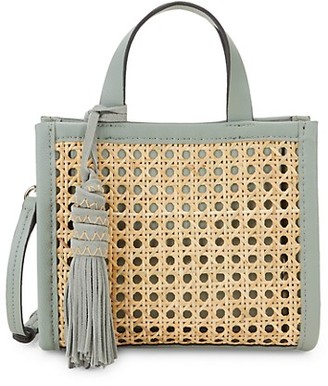 Vince Camuto Bamboo Leather Open Weave Mini Bag