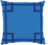 The Well Appointed House Bright Blue Rio Typhoon Outdoor Pillow with Royal Blue Tape Detail