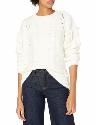 Cupcakes And Cashmere Women's Angie Cable Knit Pullover with self Fringe and bobbles