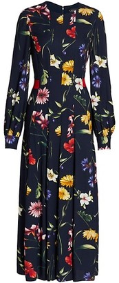 Oscar de la Renta Floral Long Sleeve Pleated Midi Dress