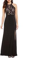 Morgan & Co. High Neck Illusion-Inset Lace Bodice Long Dress