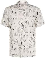 AllSaints Feels Short Sleeve Printed Shirt, Cream, XL