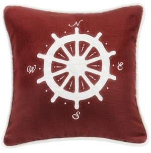 HiEnd Accents Red Sailboat 18x18 Embroidery Pillow