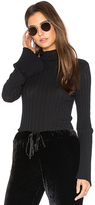 Enza Costa Cashmere Rib Mock Neck Tee in Black