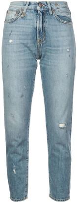 R 13 distressed girlfriend jeans