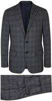 Lardini Dark Grey Checked Wool Blend Suit