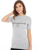 Jacqueline De Yong Womens Dominique Print T-Shirt Light Grey Melange