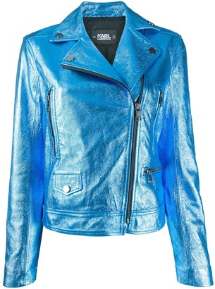 Karl Lagerfeld Paris Metallic Biker Jacket