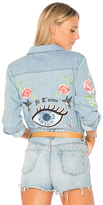 Lauren Moshi Sloane Love You Forever Rose Denim Shirt. - size L (also in M,S,XS)