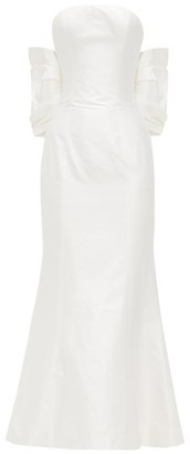 Rasario Bow-back Silk-shantung Gown - Womens - White