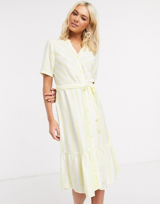 JDY midi dress with ruffle hem in yellow stripe