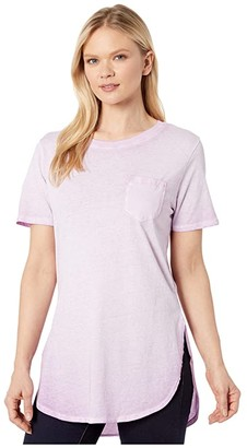 Skechers Washed Cotton Hatha Pocket Tunic Tee (Lilac) Women's Clothing