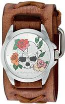 Nemesis 'Skull and Roses Series' Quartz Stainless Steel and Leather Watch, Color:Brown (Model: BSFX933W)