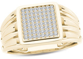 Zales Men's 1/5 CT. T.W. Composite Diamond Square Signet Ring in 14K Gold