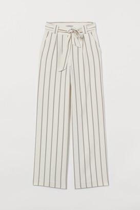 H&M Wide-cut Tie-belt Pants