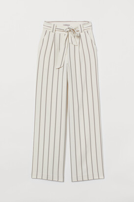 H&M Wide tie-belt trousers
