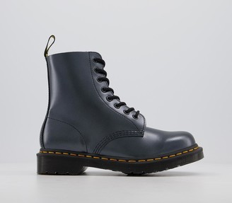 Dr. Martens 8 Eyelet Lace Up Boots Chroma Silver