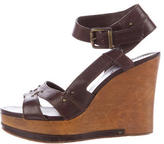 Chloé Pebbled Leather Wedge Sandals