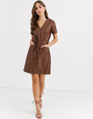 Pimkie button through faux leather dress in brown