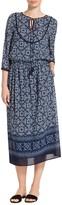 St. John Jaipur Tile Print Stretch Silk Dress