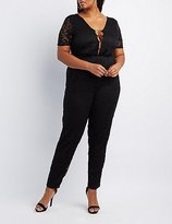 Charlotte Russe Plus Size Caged Lace Jumpsuit