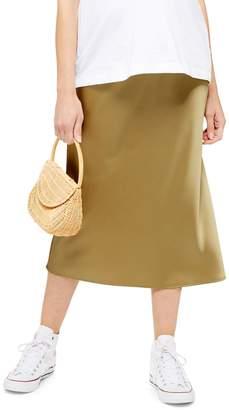 Topshop MATERNITY Satin Bias Midi Skirt