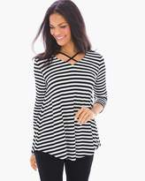 Chico's Striped Caged Knit Top