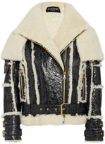 Balmain Oversized Cracked-leather And Shearling Jacket