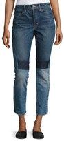 Helmut Lang Patchwork High-Rise Crop Slim Jeans, Blue