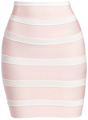 Herve Leger Stripe Mini Bandage Pencil Skirt