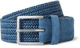 Loro Piana 3.5cm Blue Suede-Trimmed Coated Linen Woven Belt