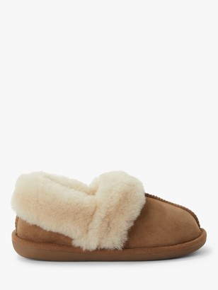 John Lewis & Partners Sheepskin Mule Cuff Slippers, Chestnut