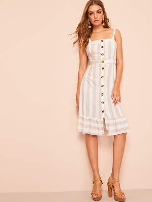 Shein Knotted Cutout Back Button Through Striped Dress