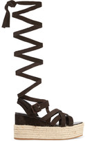 Miu Miu Suede Espadrille Platform Sandals - Dark brown