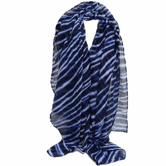 CWFUN Navy White Stripe Printing Scarves for Women Ladies-Head Scarf Long Neck Scarf with Super Soft Touching