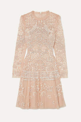 Needle & Thread Aurora Ruffled Sequin-embellished Tulle Mini Dress - Beige