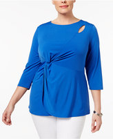 NY Collection Plus Size Cutout Faux-Wrap Top