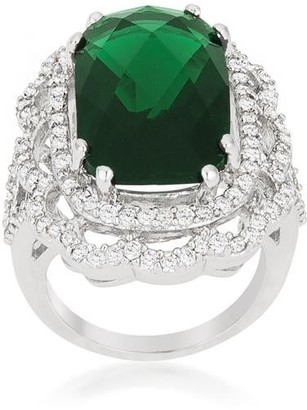 Overstock Green Cocktail Crest Ring