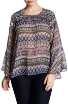 Jessica Simpson Printed Bell Sleeve Blouse (Plus Size)