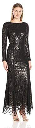 JS Collections Women's Long Sleeve Lace Metallic Gown