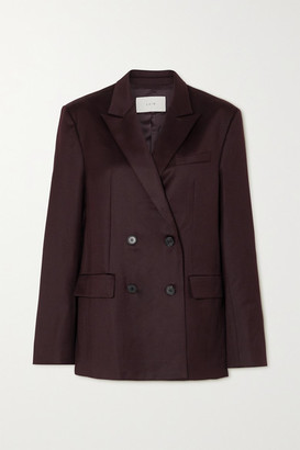 LVIR Oversized Double-breasted Wool Blazer - Burgundy