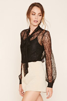 Forever 21 FOREVER 21+ Contemporary Sheer Tie-Neck Top