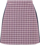 Burberry Satin-trimmed Checked Cotton-blend Mini Skirt - Burgundy