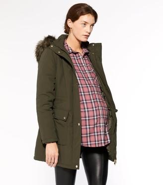 New Look Maternity Faux Fur Hooded Parka Coat