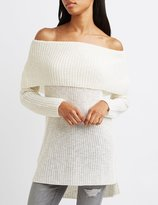 Charlotte Russe Shaker Stitch Off-The-Shoulder Sweater