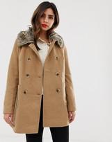 Vila faux fur trim wool coat