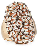 Suzanne Kalan Champagne Diamond Baguette Cluster Statement Ring in 18K Rose Gold, Size 6.5