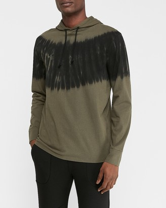 Express Tie-Dye Striped Hooded Long Sleeve T-Shirt