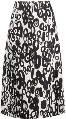 Marni abstract-print A-line midi skirt